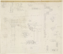 Drawing from a set of sixteen architectural details from Hindu and Muhammadan buildings in India, including Colgong, Deo, Bodhgaya. 1788-93 1782